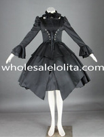 Pure black cosplay dress lange mouwen punk lolita dress lolita kanaal baljurk 4xl voor koop thee feestjurken