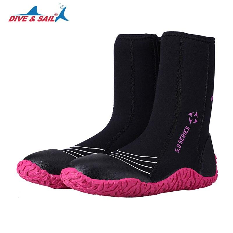 Nouveau 5mm néoprène haute supérieure bottes de plongée côté fermeture éclair épaissir hiver anti-dérapant hommes femmes chaussettes de plongée chaussures Surf voile natation