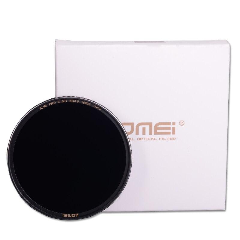 Zomei 49/52/55/58/62/67/72/77/82mm Argento con la montatura nera Slim Multi-Coated Vetro Neutral Density ND8 ND64 ND1000 Filtro Per DSLR Lens