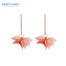 SANSUMMER Orange Pink Resin Leaves Long Style Water Drill Chains 2019 New Fashionable Temperament Womens Earrings 6678