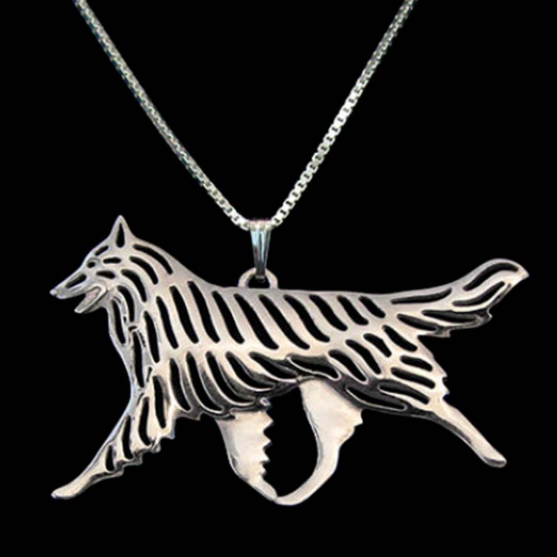belgian tervuren movement dog pendant necklaces silver plated animal charm christmas gifts for dog lovers pet jewelry