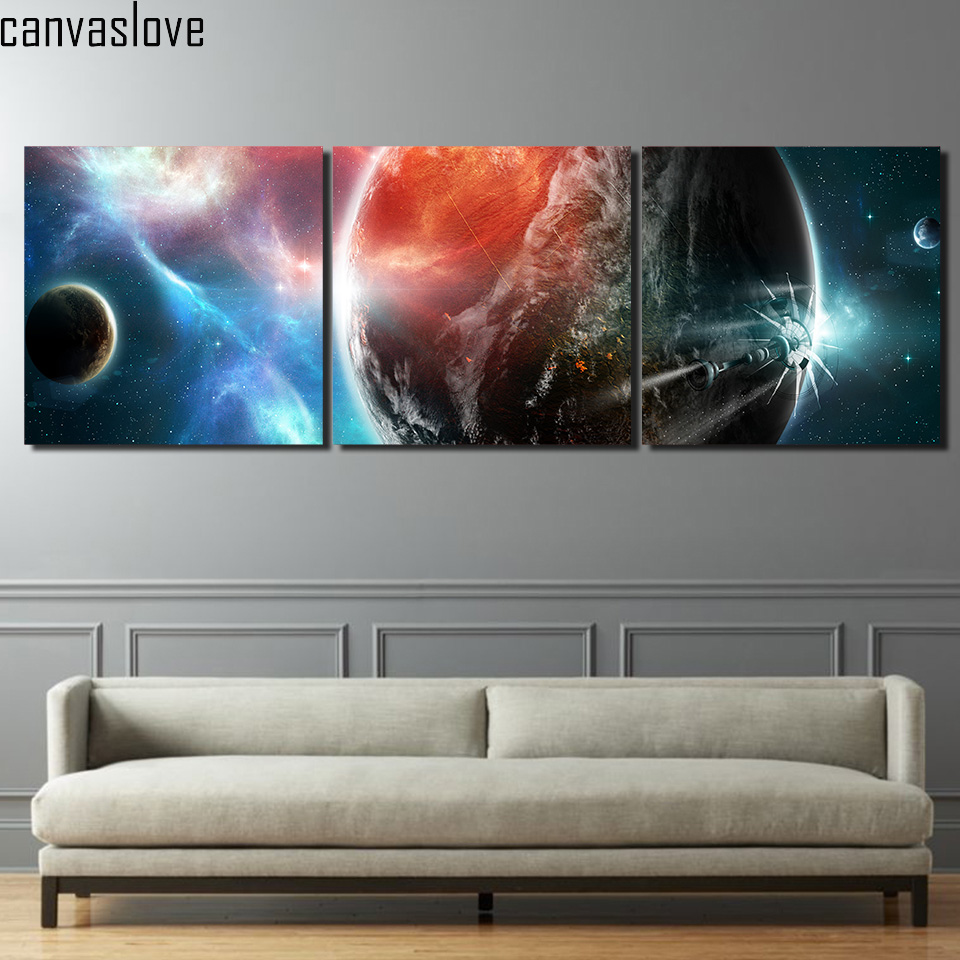 online buy wholesale starry sky planet from china starry sky 3 piece printed space starry sky planet universe painting canvas living room decoration art work for