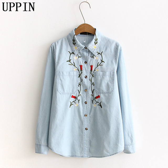 483fd23a556 UPPIN Women Sweet Flower Embroidery Denim Shirts Pockets Long Sleeve Turn  Down Collar Blouse Female Casual Brand Tops Blusa