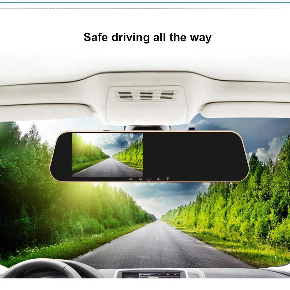 DVR Xe Ô Tô Dash Camera Ghi Hình Gương Chiếu Hậu 4.3 Inch FHD 1080P Dashcam Ống Kính Kép Với Camera Phía Sau tự Động Registrator