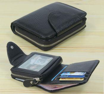 Fashion Men wallets Genuine Leather Wallet Men Purse male wallet zip around Short money bag Coin Bag Money Holder Black Vertical фото