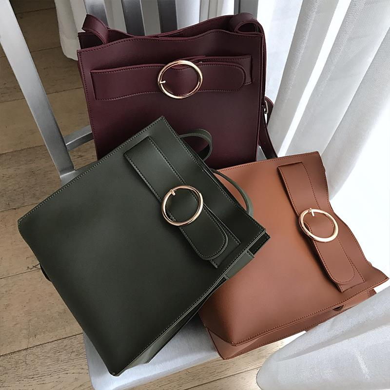 Women s handbag Moment elegant gold round buckle one shoulder cross body bag circusy strap bag