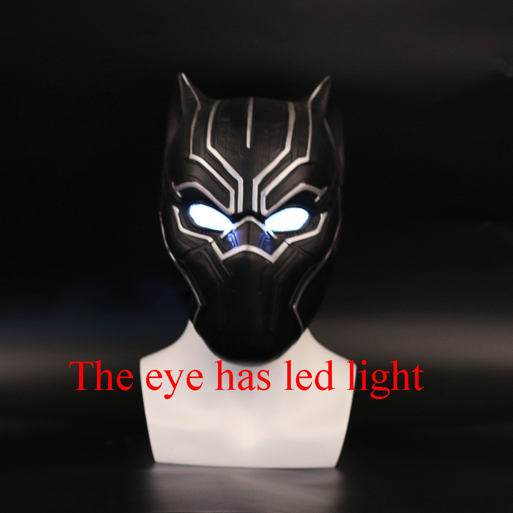 2017 New Captain America Helmet With light Black Panther Helmet Civil War Cosplay Mask Halloween Party Prop captain america civil war black panther helmet 1 1 scale hallowmas party cosplay helmet black panther pvc action figure kids toy