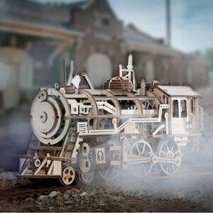 Image 4 - Robotime DIY saat dişli sürücü lokomotif 3D AHŞAP Model yapı kitleri oyuncaklar hobiler hediye çocuk yetişkin için LK701
