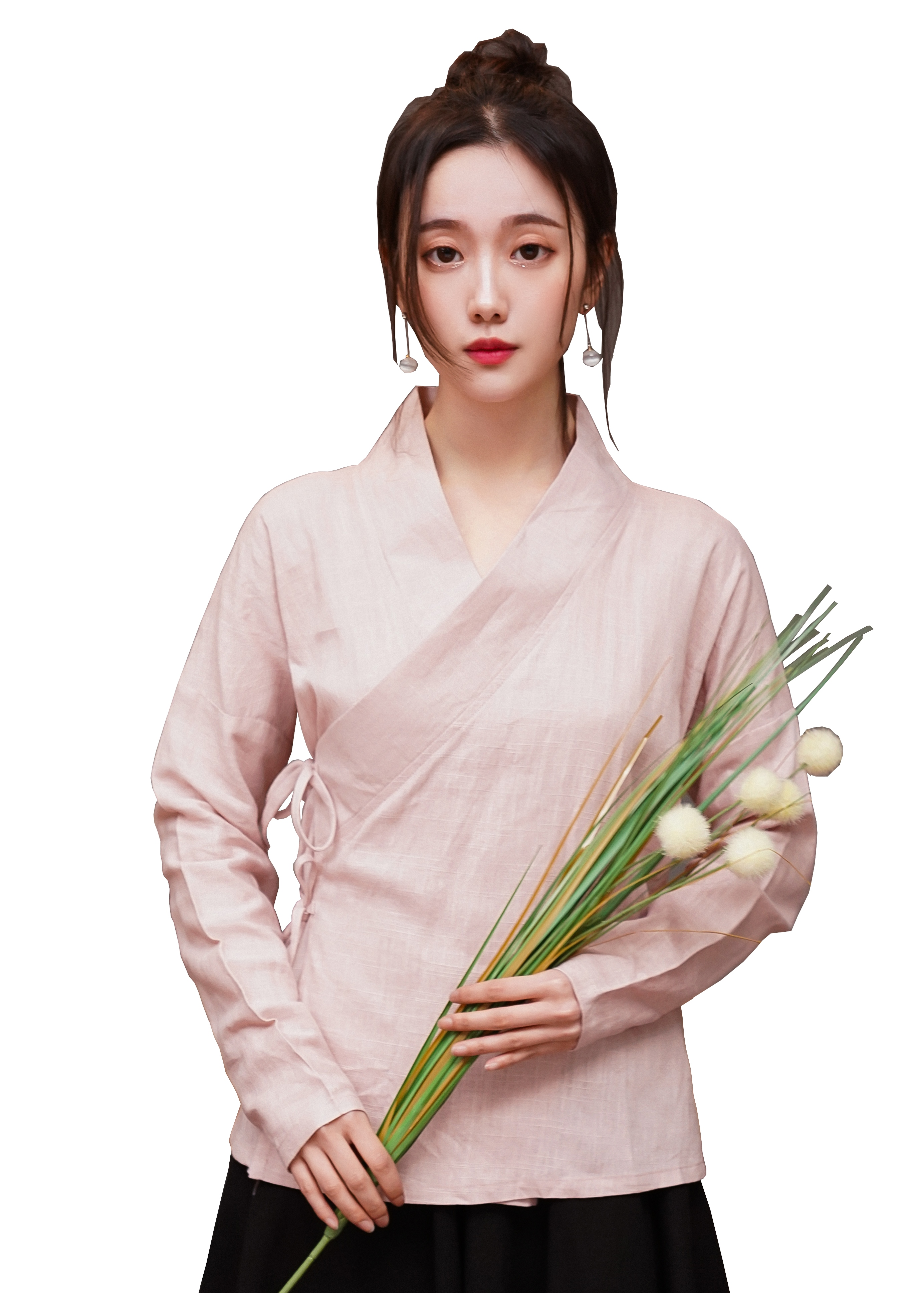 Shanghai Story Blend Linen Hanfu Tops Chinese V Neck Chinese Style Blouases For Women 4 Color