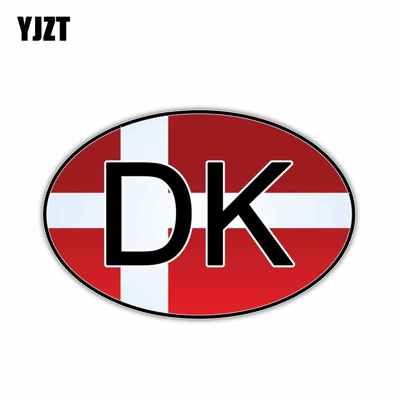 YJZT 15.5CM*10.2CM Denmark Country Code Flag Car Sticker Window PVC Decal 6-0928