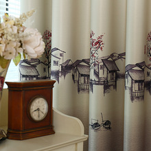 Jiangnan Water Village The Chinese Modern Printing Curtains for Bedroom Living Room Kitchen Window