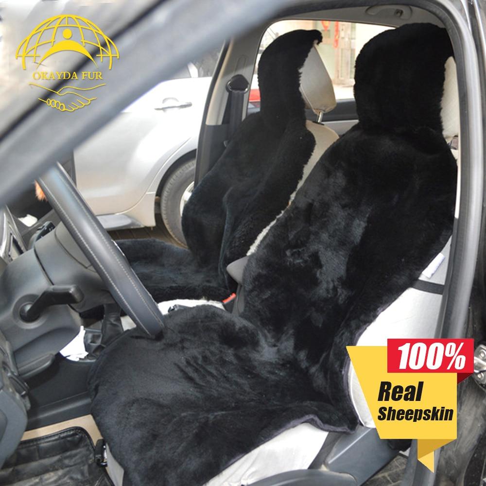 OKAYDA autoistme kate Täielik karusnahk tõeline lühike lambanahk Looduslik villa luksuslik universaalne suurus igasuguste istekohtade tasuta saatmine