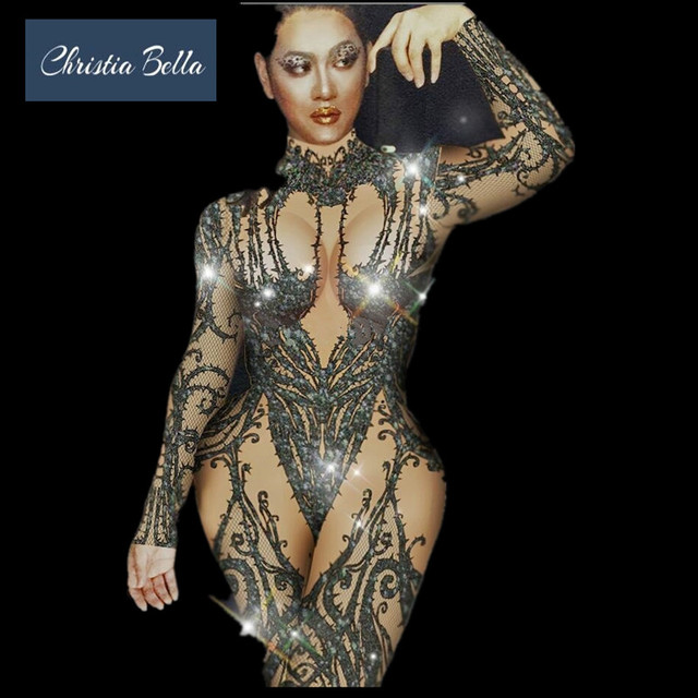 Christia Bella Sexy Rhinestone Print Women Jumpsuits Party Nude Bodysuits  Nightclub Dance Costumes Stage Performance Clothing f66947339231
