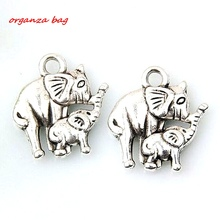 MIC  10pcs Antiqued Silver Alloy Elephant Charm DIY Jewelry 12 x 15 mm za431