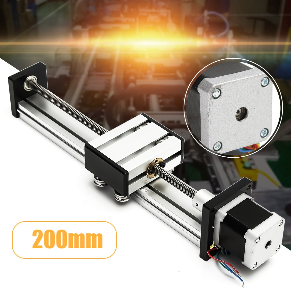200mm Slide Stroke CNC Linear Motion Lead Screw Slide Stage Stroke 42 Actuator Stepper Motor For Engraving Machine funssor 50mm 150mm slide stroke cnc z axis slide linear motion nema17 stepper motor for reprap engraving machine