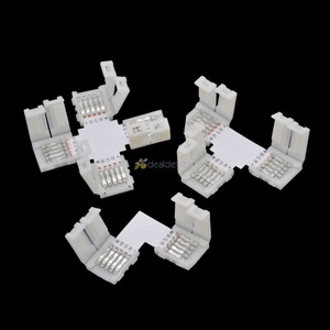5pcs 10mm 5 PIN RGBW L shape / X shape / T shape No Soldering connector For 5050 RGBW / RGBWW LED strip 5PIN RGBW connector