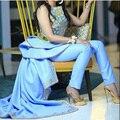 Azul de Dos Piezas Vestidos de Noche Crew Neck Applique Por Encargo Vestidos de Noche Formales con Pantalones