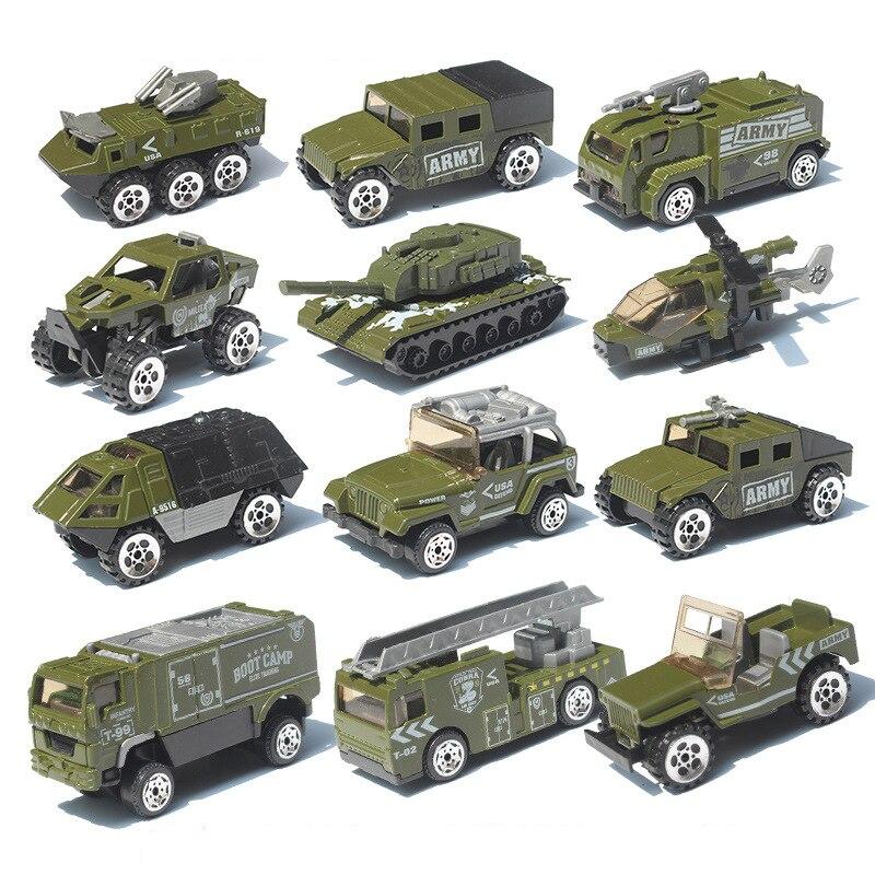 Alloy Car Set 1:87 Fire Military Model Car Simulation Vehicle Tank Aircraft A Machine Children Pocket Toy Car Gift Boy Toys