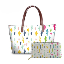 NOISYDESIGNS Women Cactus Printing Bag for Travel Handbags Ladies Fashion Top-Handle Bags Females Beach Girls Large Book