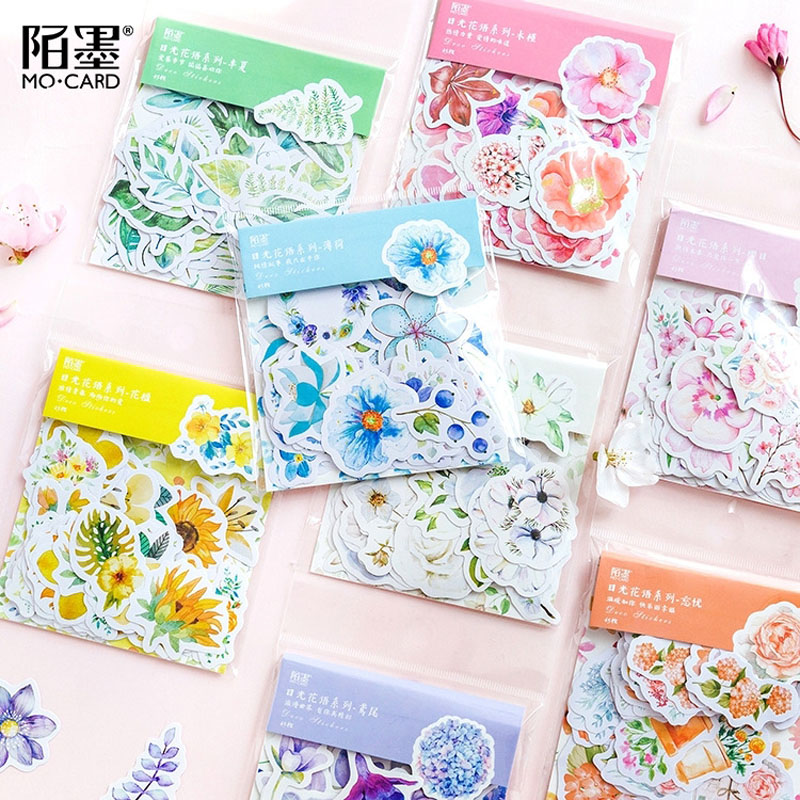 45 Pcs/Pack Mohamm Japanese Decoracion Journal Cute Diary Flower Stickers Scrapbooking Flakes Stationery School Supplies TZ101