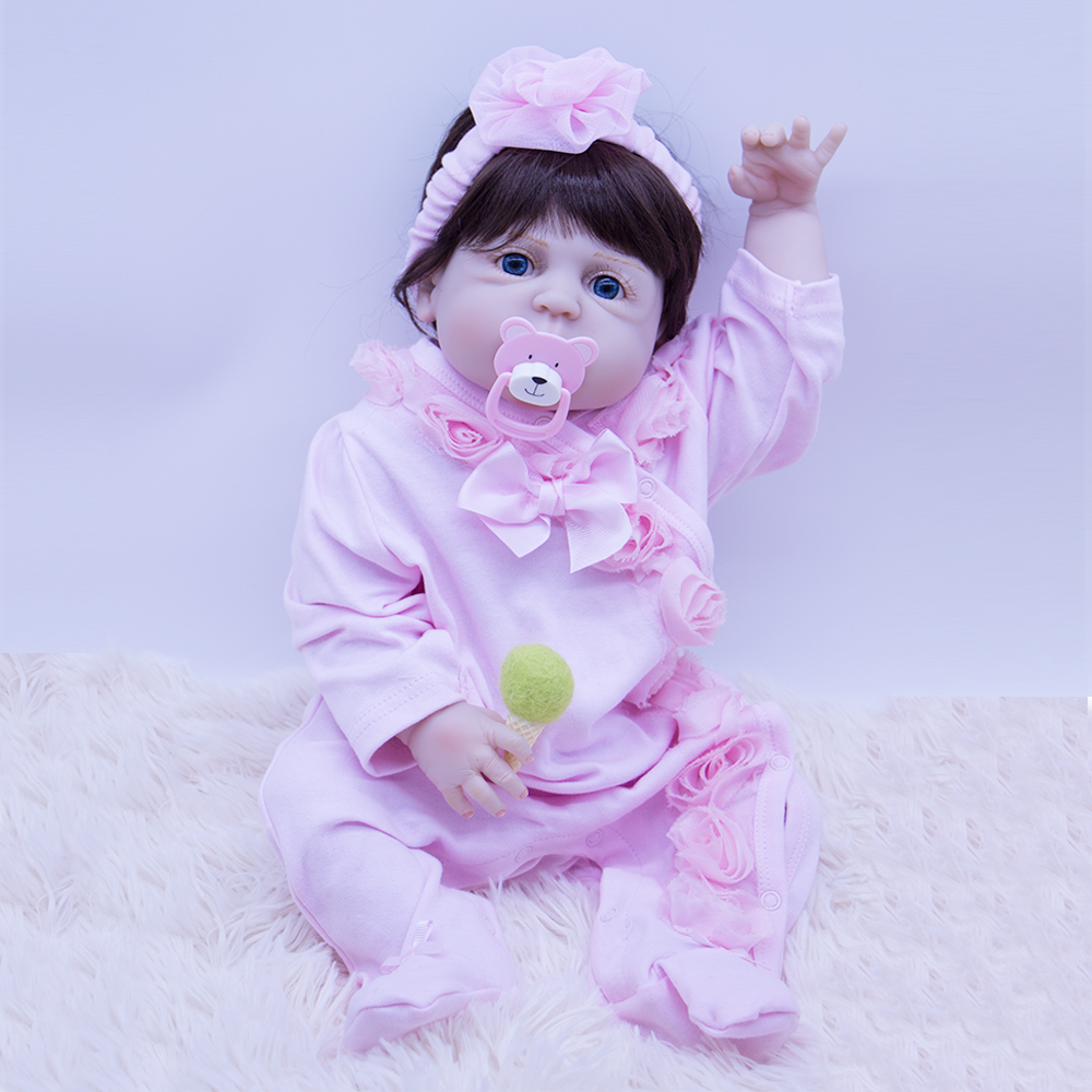 blue eys Bebes Reborn baby Dolls 55Cm Reborn Dolls 100% Non-toxic Vinyl Silicon boneca lifelike toys for Girls Birthday Gifts
