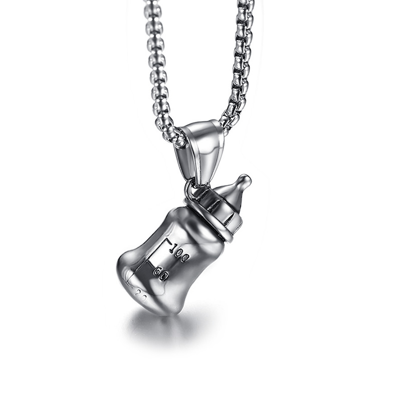 3D Baby Feeding Bottle Pendant Necklace for Men Women Stainless Steel Silver Tone Male Female Jewelry Collar 24 Chain