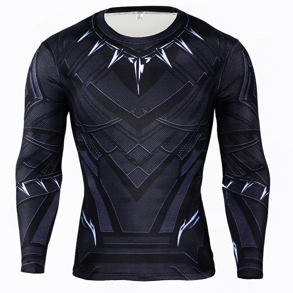 US  Panther T-shirt Wakanda Elastic Tight Long Sleeve Avengers Mans Top Tee
