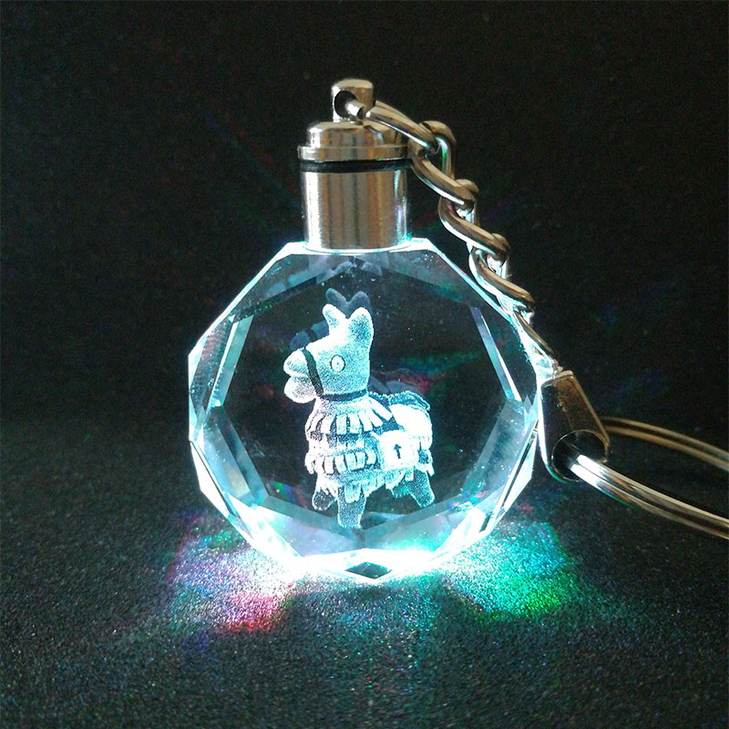 Alpaca K9 Crystal Pendant Keychain Laser Engraved Flash Color Change light Chain Keyring Kids Christmas gifts in Novelty Lighting from Lights Lighting
