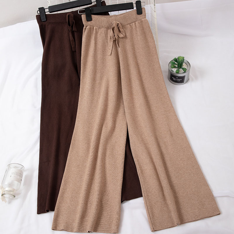 2019 Spring Autumn Lady Casual Knit   Pants   Full Length Fashion Lace-up High Waist   Wide     Leg     Pants   With women High Quality