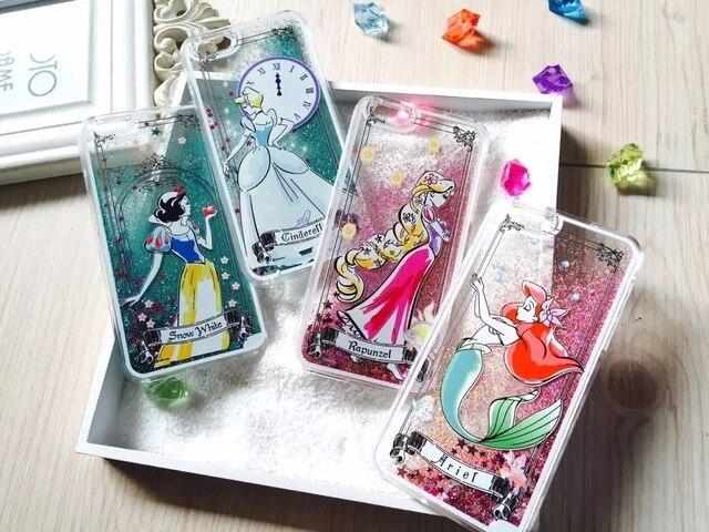 Super mignon Cartoon princesse blanche neige cendrillon Ariel Rapunzel Shimmering poudre Quicksand housse pour Iphone 6 Plus 5.5 polegada