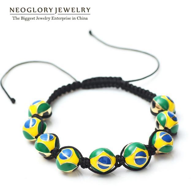 Neoglory Chapado En Oro de Aleación de Zinc Cuerda Brasil Flag Beads Strand Joyería Brazaletes y Pulseras para Hombres de Las Mujeres 2017 Deportiva