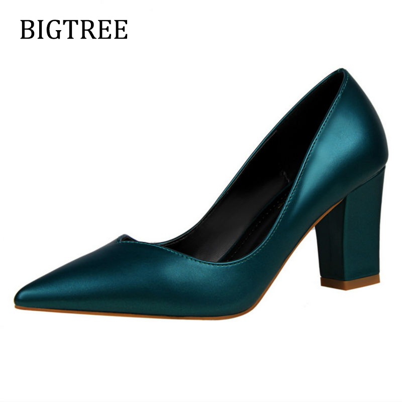 Size34-39 Women Shoes High Heels Red Silver Solid Wedding Shoes Pointed Toe Square Heels Comfort Party Pumps Footwear парта rifforma comfort 34