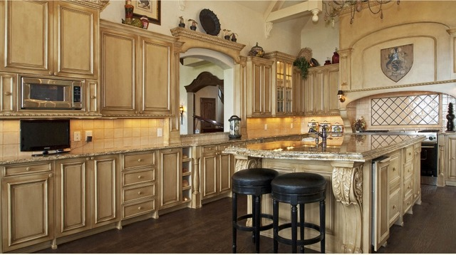 Super-luxury kitchen cabinets with crown molding u0026 Roman column & Super luxury kitchen cabinets with crown molding u0026 Roman column-in ...