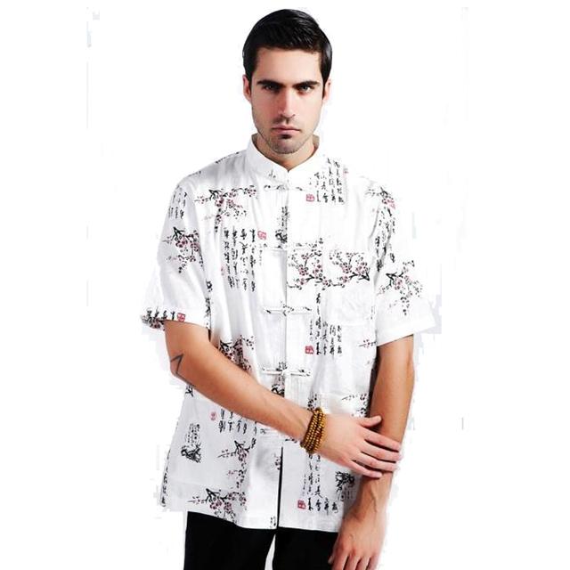 High Fashion branco chinês de linho de algodão homens camisa verão Kung Fu camisa masculina verão ocasional Top Totem tamanho ml XL XXL XXXL MS088