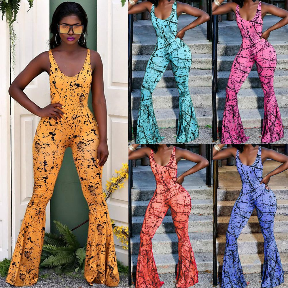 S-3XL 2019 Summer High Street Mono Print   Jumpsuit   Women Sexy Floral Print Halter Top   Jumpsuit   Streetwear Plus Size   Jumpsuits
