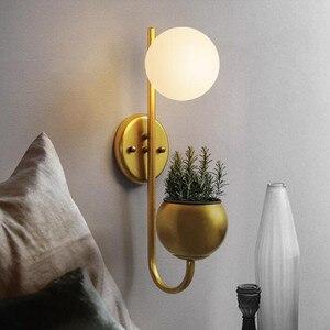 Nordic sala de estar fundo lâmpada parede pós moderno quarto cabeceira bola vidro planta led deco luminárias