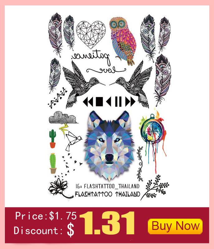 10pcs Waterproof Temporary Tattoos Sleeve Owl Fox Artificial Flowers Tattoo Many Designs Sex Men Beauty Body Art 3d Tatoo 6