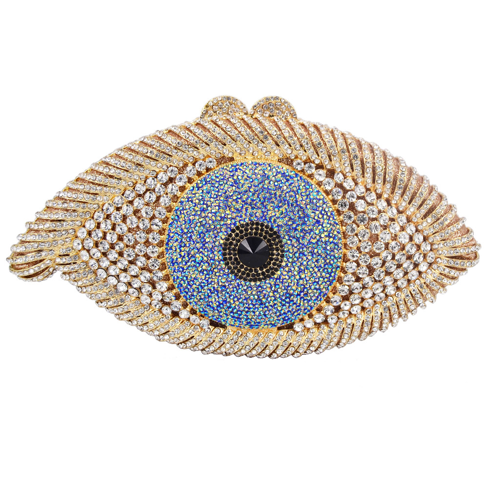 Crystal Purse Clutch-Bag Evening-Bag Evil-Eye Silver Gold Black Women Pochette Party