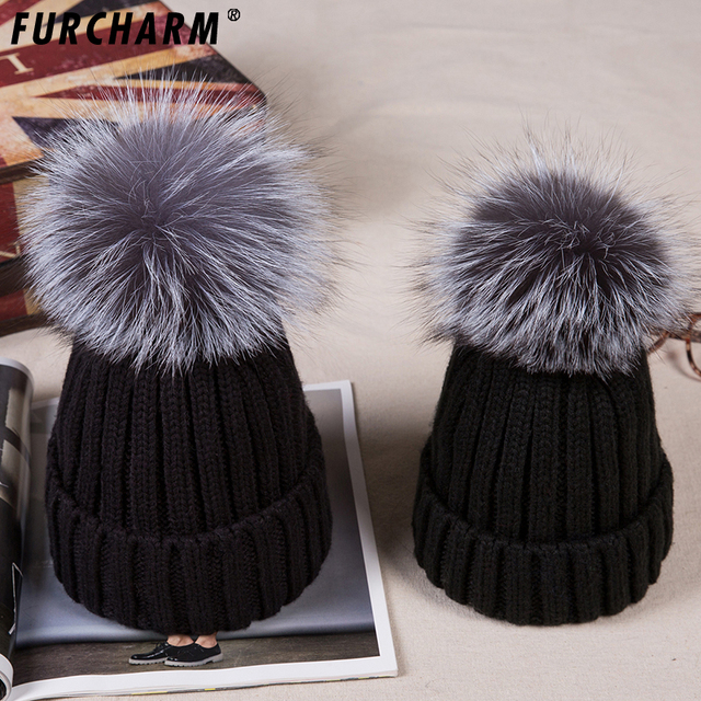 2PCS LOT Winter Real Fur Ball Beanie Hat for Women Kids Baby Fluffy Silver  Fox 20a1fe745826