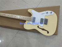 High quality new classic f hole electric guitar milk yellow can be customized