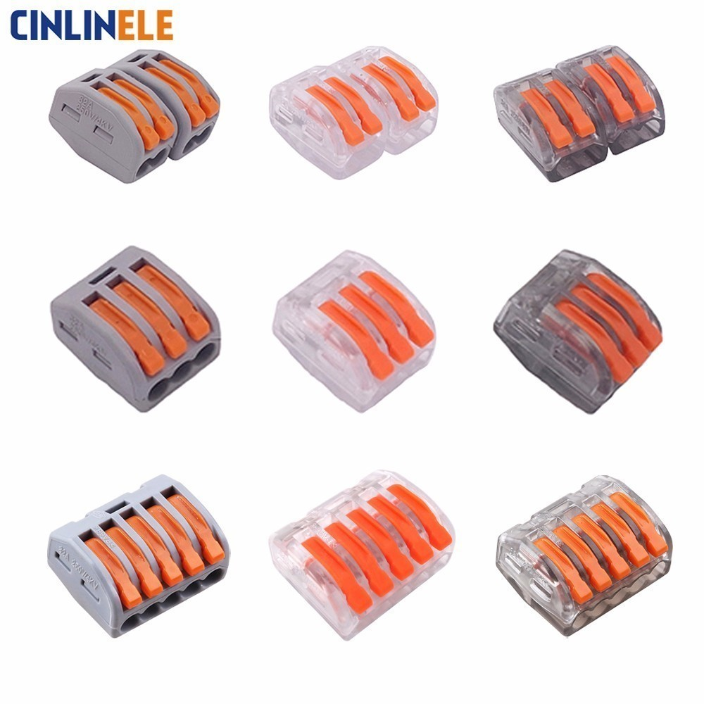 10PCS Mini Fast WAGO  222-412 413 415 PCT212 213 215  Universal Compact Wire Wiring Connector Conductor Terminal Block 10 pieces lot 222 413 universal compact wire wiring connector 3 pin conductor terminal block with lever awg 28 12