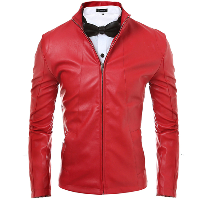 2016 New Men Motorcycle Jacket Leather Solid Style Red Black Casual Slim Fit Faux Leather PU Jacket Men Jaqueta Couro Masculino
