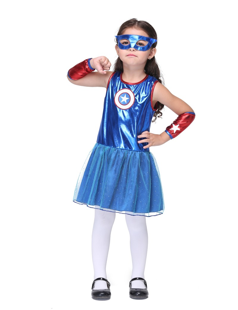 TITIVATE Supergirl Cosplay Captain America Costumes Halloween Stage Performance Party Fancy Dress Kids Carnival Party Outfit