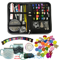 134pcs/set Multifunction sewing thread stitches needles tool set DIY lace patches buttons craft scissor travel sewing kit case