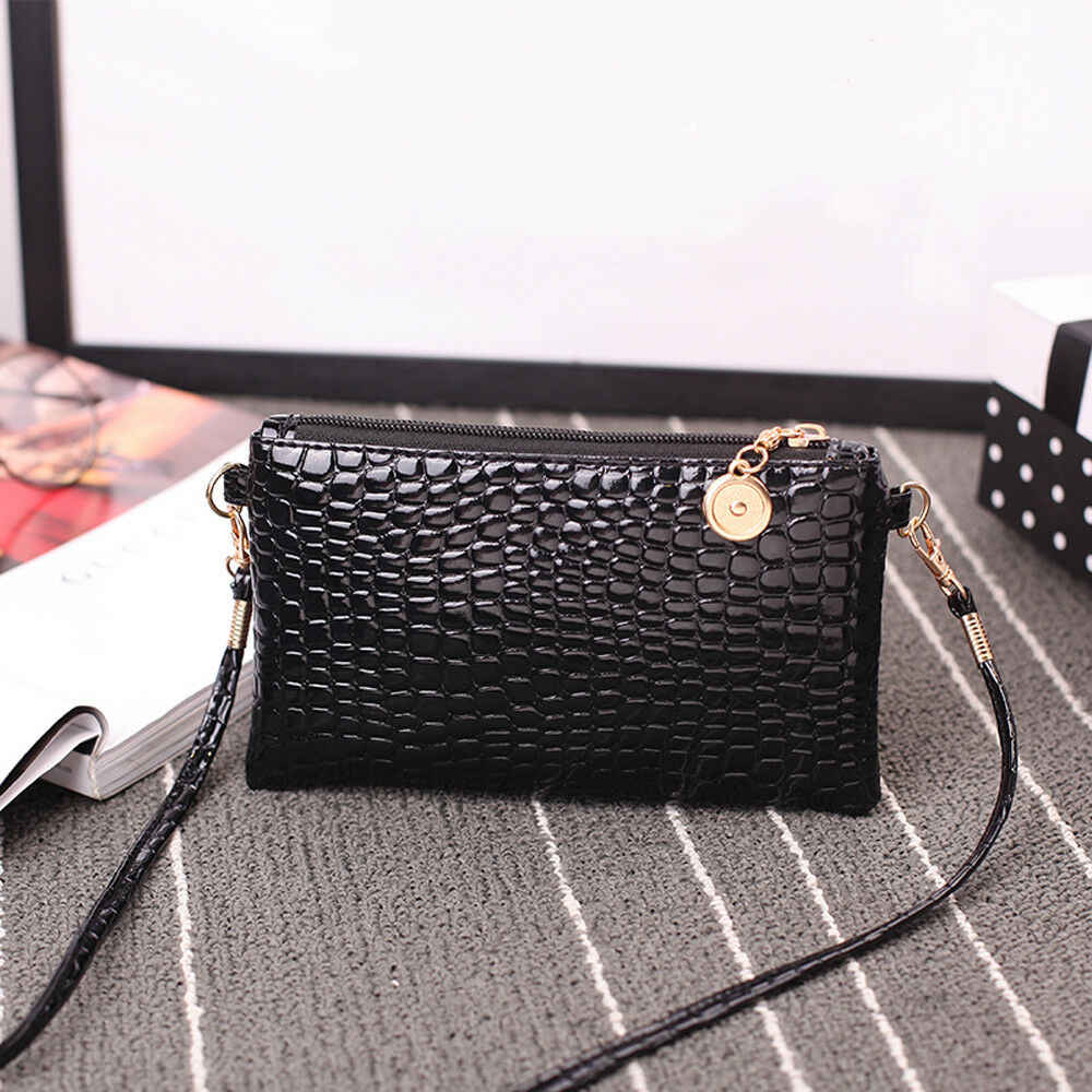 Fashion Mini Tas Kulit Wanita Tas Bahu Fashion Buaya Pola Zipper Tas Warna Solid Clutch