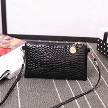 Fashion Mini Tas Kulit Wanita Tas Bahu Fashion Buaya Pola Zipper Tas Warna Solid Clutch(China)