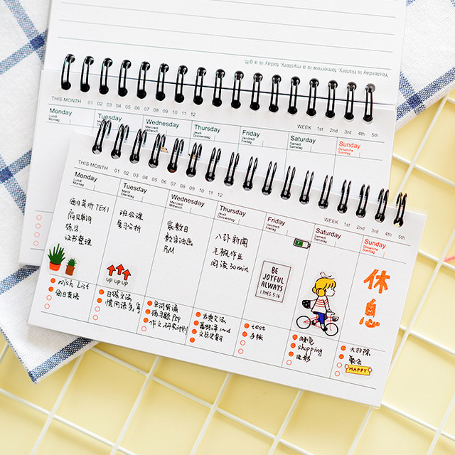 1pcs Cute Cartoon Weekly Planner , Spiral Daily Planner as