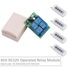 4 Channel 433Mhz DC12V Operated RF Relay Switch With Relay Receiver&Transmitter Remote Control Curtan&LED Light For Smart Home
