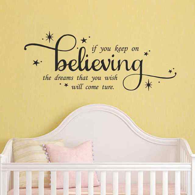 Cinderella Wall Quote Decal If You Keep On Believing Girls Nursery ...