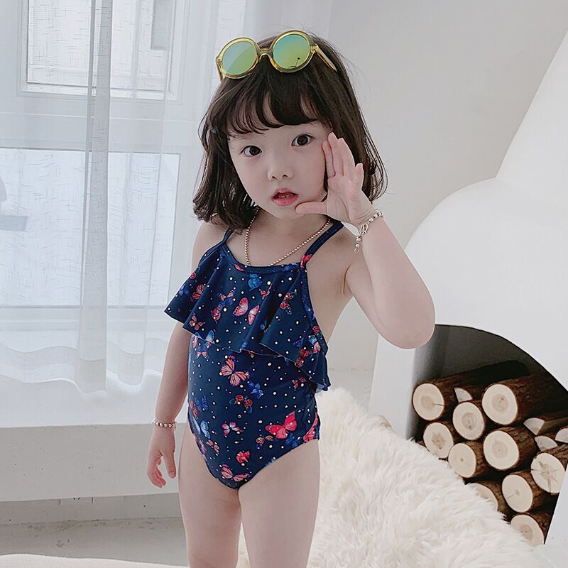 New-Korea-Style-swimwear-hat-Butterfly-Leopard-Print-Cute-Baby-swimming-suit-infant-toddler-kids-children